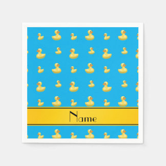 Custom name yellow stripe sky blue rubber duck standard cocktail napkin