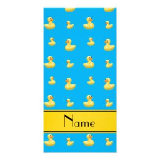Custom name yellow stripe sky blue rubber duck custom photo card
