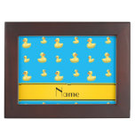 Custom name yellow stripe sky blue rubber duck keepsake boxes