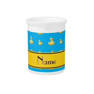 Custom name yellow stripe sky blue rubber duck beverage pitcher