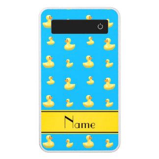 Custom name yellow stripe sky blue rubber duck power bank
