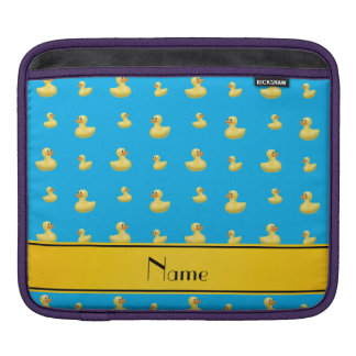 Custom name yellow stripe sky blue rubber duck sleeve for iPads