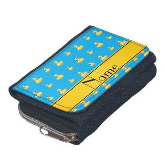Custom name yellow stripe sky blue rubber duck wallets