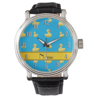 Custom name yellow stripe sky blue rubber duck wrist watch