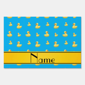Custom name yellow stripe sky blue rubber duck signs