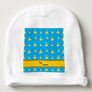 Custom name yellow stripe sky blue rubber duck baby beanie