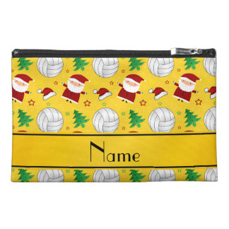Custom name yellow volleyball christmas pattern travel accessory bags