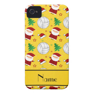 Custom name yellow volleyball christmas pattern iPhone 4 Case-Mate case