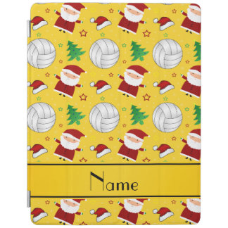 Custom name yellow volleyball christmas pattern iPad cover