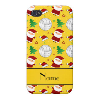 Custom name yellow volleyball christmas pattern iPhone 4/4S cover