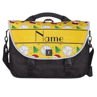 Custom name yellow volleyball christmas pattern computer bag