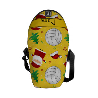 Custom name yellow volleyball christmas pattern courier bags