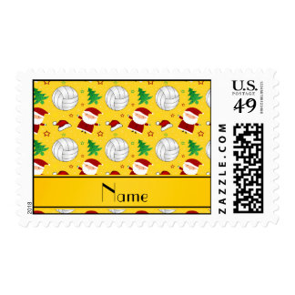 Custom name yellow volleyball christmas pattern stamp