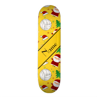 Custom name yellow volleyball christmas pattern skate boards