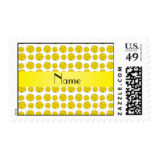 Custom name yellow volleyball pattern postage stamp