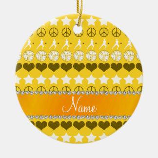 Custom name yellow volleyballs stars hearts peace ceramic ornament