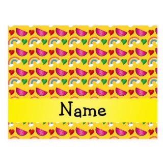 Custom name yellow watermelons rainbows hearts postcard