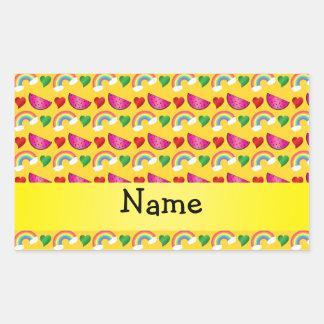 Custom name yellow watermelons rainbows hearts stickers