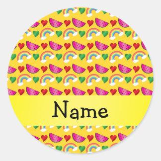 Custom name yellow watermelons rainbows hearts round sticker