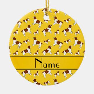 Custom name yellow Welsh Springer Spaniel dogs Ceramic Ornament