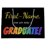 "[ Thumbnail: Custom Name + ""You Are Now a Graduate!"" (Rainbow) Gift Bag ]"
