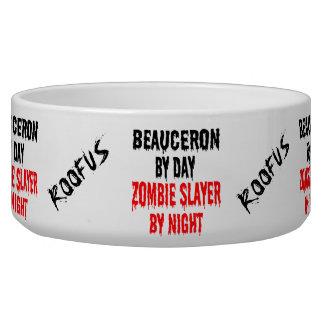 Custom Named Beauceron Dog Zombie Joke Food Bowl