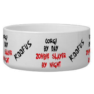 Custom Named Corgi Dog Zombie Joke Food Bowl