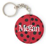 Custom Named Megan Ladybug Keyring Keychain