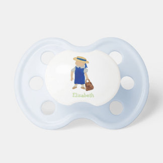 Custom Named School Girl Toddler Water Colored BooginHead Pacifier