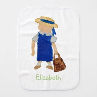 Custom Named School Girl Toddler Water Colored Burp Cloth
