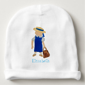 Custom Named School Girl Toddler Water Colored Baby Beanie