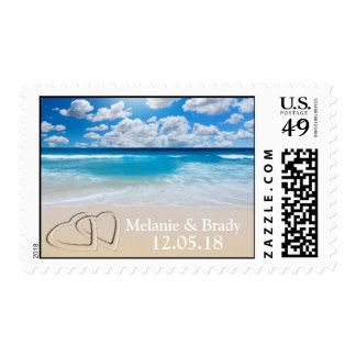 Custom Names Date Beach Wedding Hearts Invite RSVP Postage