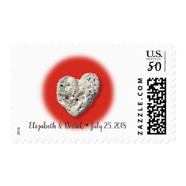 Hawaiian Themed Custom Names & Date Coral Heart & Red Circle Photo Postage