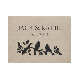 Custom names linen burlap rustic jute love birds doormat