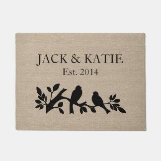 Custom names linen burlap rustic jute love birds doormat