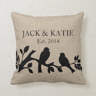 Custom names linen burlap rustic jute love birds throw pillow