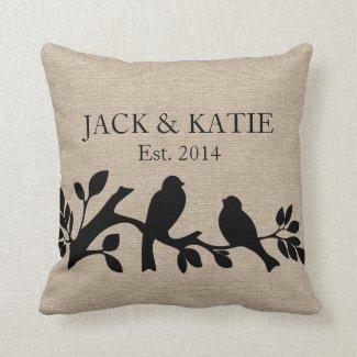 Custom names linen burlap rustic jute love birds throw pillows