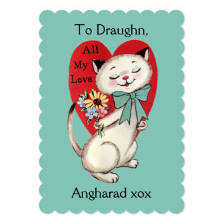 Custom Names Nostalgic Siamese Cat Valentine Card