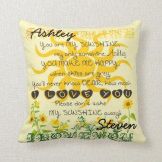 Custom Names Sunshine Gift Throw Pillows