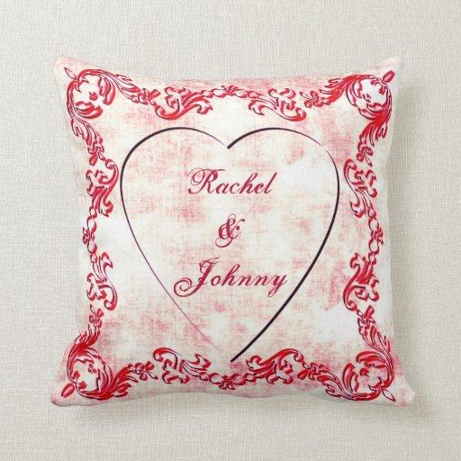 Custom Names Vintage Heart Decorative Throw Pillow Zazzle