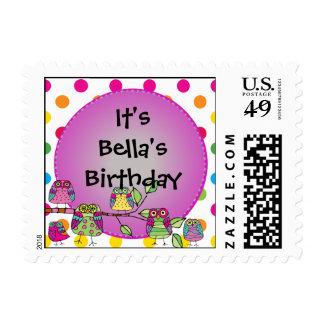 Custom Nature Owl Birthday Postage Stamps
