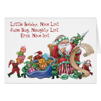 Custom Naughty Nice List Christmas Card for Kids