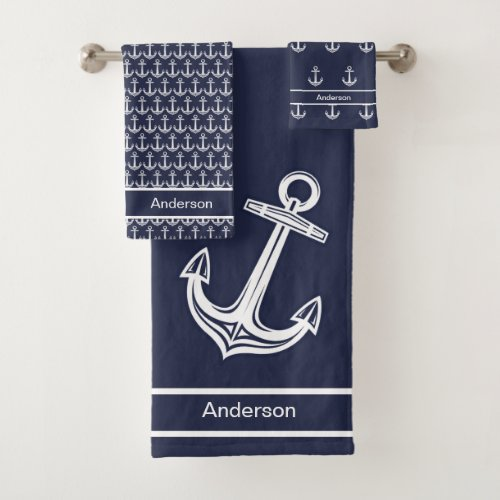 Custom Nautical Anchor  Bathroom Ocean Navy Blue Bath Towel Set