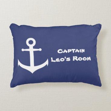 Beach Themed Custom Nautical Anchor Blue & White Accent Pillow