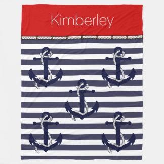 Custom Nautical Anchor Chic Stripes Pattern Fleece Blanket