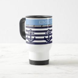 Custom Nautical Anchor Chic Stripes Pattern Travel Mug
