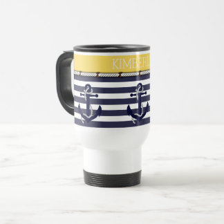 Custom Nautical Anchor Chic Stripes Pattern Travel Mug