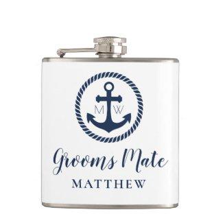 Custom Nautical Anchor Grooms Mate Groomsman Flask