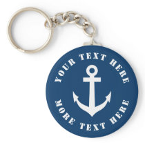Custom nautical anchor keychain for boat captain