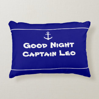 Custom Nautical Anchor Navy Blue and White Accent Pillow